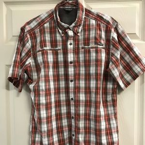 Eddie Bauer Medium Plaid Button Down Hiking Shirt
